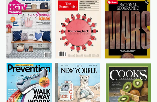 Covers of the magazines HGTV, The Economist, National Geographic, Prevention, The New Yorker, and Cook's Illustrated